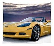 Yellow Corvette Convertible Tapestry
