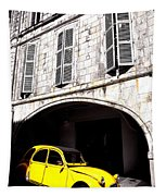Yellow Deux Chevaux In Shadow Tapestry