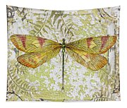 Yellow Dragonfly On Vintage Tin Tapestry