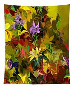 Yellow Fantasy Flower Garden Tapestry