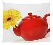 Yellow Flower In A Red Teapot Tapestry
