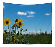 Yellow Flower On Blue Sky Tapestry