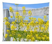 Yellow Flowers And A White Fence Tapestry
