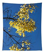 Yellow Leaves In Fall And Deep Blue Sky Tapestry