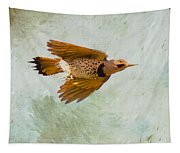 Yellow-shafted Northern Flicker In Flight Tapestry