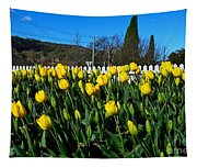 Yellow Tulips Before White Picket Fence Tapestry