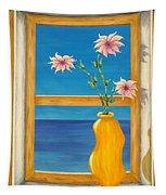 Yellow Vase With Sea View Tapestry
