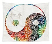 Yin And Yang - Colorful Peace - By Sharon Cummings Tapestry