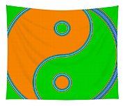 Yin Yang Orange Green Pop Art Tapestry