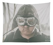 Young Boy Pilot. Battle Ready Tapestry