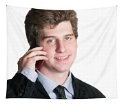 Young Business Man On The Cell Phone Tapestry