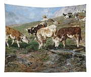 Young Cattle In Tyrol Tapestry