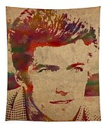 Young Clint Eastwood Actor Watercolor Portrait On Worn Parchment Tapestry