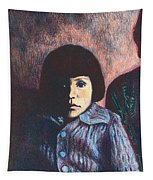 Young Girl In Blue Sweater Tapestry