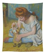 Young Girl Playing With A Doll Tapestry