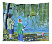 Young Lads Fishing Tapestry