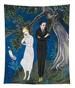 Young Man In Black. Girl In White Tapestry