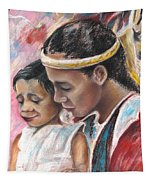 Young Polynesian Mama With Child Tapestry