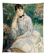 Young Woman Seated On A Sofa Tapestry