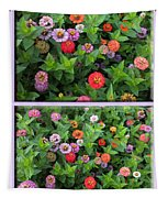 Zinnias 4 Panel Vertical Composite Tapestry