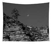 Zion National Park And Moon In Black And White Tapestry