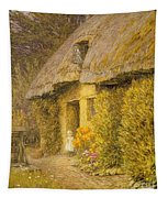 A Child At The Doorway Of A Thatched Cottage  Tapestry
