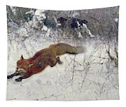 Fox Being Chased Through The Snow  Tapestry