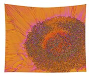 Sunflower In Orange And Pink Tapestry