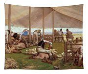 The Sheep Shearing Match Tapestry
