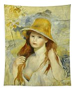 Young Girl With A Straw Hat Tapestry
