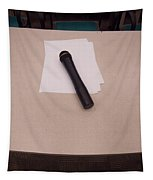 A Microphone On The Lectern Of A Presentation Room Tapestry