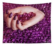 Abstract Woman Hand With Purple Nail Polish Tapestry