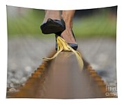 Banana Peel On The Railroad Tracks Tapestry