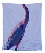 Big Blue Heron At Lake Side Tapestry