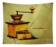Coffee Mill And Beans In Grunge Style Tapestry