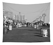 Coney Island Boardwalk In Black And White Tapestry