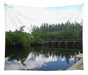 Dock On The North Fork River Tapestry