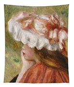 Head Of A Young Girl In A Red Hat  Tapestry