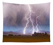 Lightning Striking Longs Peak Foothills 6 Tapestry