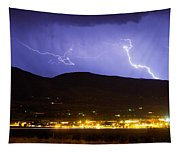 Lightning Striking Over Ibm Boulder Co 2 Tapestry