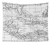 Map Of The West Indies Florida And South America Tapestry