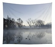 Mountain And Trees Reflected In A Foggy Lake Tapestry