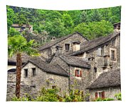 Old Rustic Village Tapestry