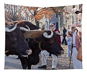 Oxen And Handler Tapestry