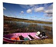 Pink Boat In Scenic Saskatchewan Tapestry
