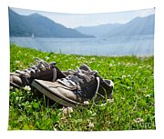 Shoes On The Green Grass Tapestry