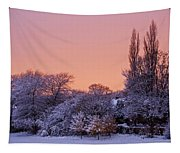 Snow Scene At Sunrise Tapestry