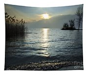 Sunset Over An Alpine Lake Tapestry