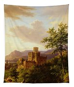 Travellers On A Path In An Extensive Rhineland Landscape Tapestry