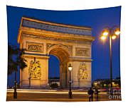 Twilight At Arc De Triomphe Tapestry